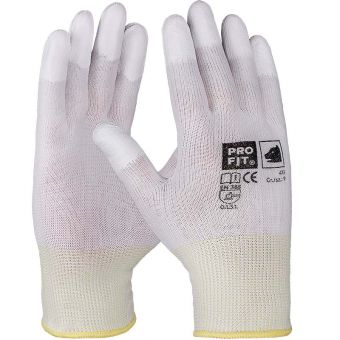 PU-beschichtete Fingerkuppen auf Nylonliner Fingersp. besch. | 5 | weiß