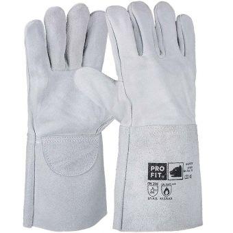 Rind-Spaltleder-Schweißerhandschuhe 35 cm | 10 | grau/natur