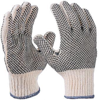 Noppen Handschuh aus Baumwolle und Polyester 2-seitig   8   natur