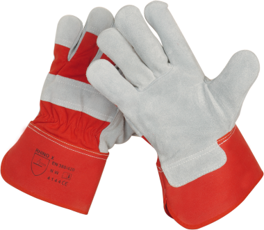 Rind-Kernspaltleder-Handschuhe Red-Power, 1,4mm