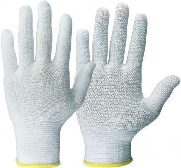 Rundgestrickte-Baumwollhandschuhe + Micro-Noppen 8 | weiß