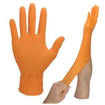 100 Stk. Chemikalien Nitril High-Risk Handschuhe Ungepudert | S | Orange