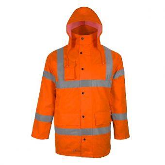 Warnschutzparka Orange mit Reflektionsstreifen